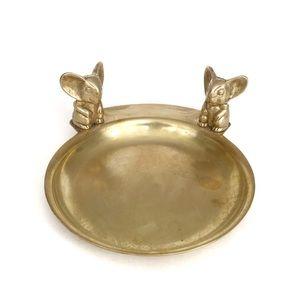 Vintage Brass Mouse Mice Spare Change Trinket Dish